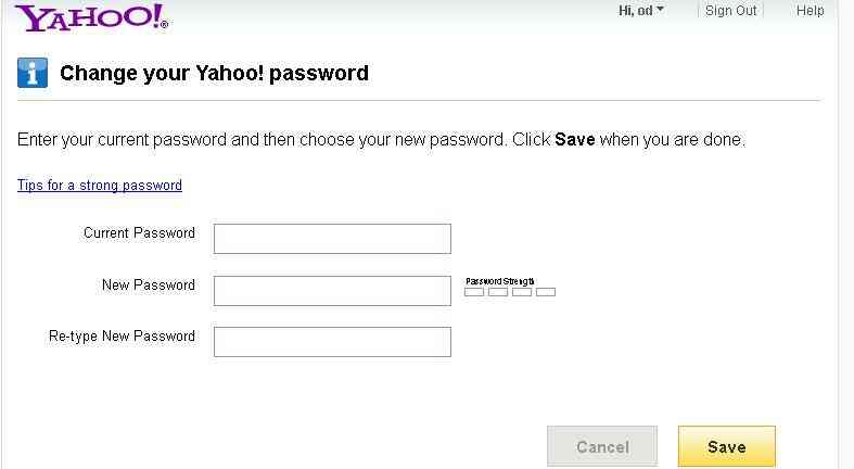 Cách thay đổi password nick chat yahoo