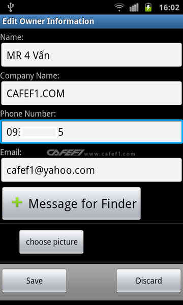 "(CafeF1.com) Voi ung dung ""Phone Found - Owner Info"" hoan toan mien phi nay ban co the ghi ten, so dien thoai, email... ben ngoai man hinh khoa."