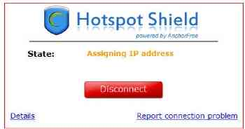 Logging in to Hotspot Shield